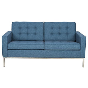 LeisureMod Modern Lorane Loveseat in Twill Wool, Blue