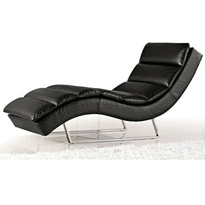 Zuri Furniture Sphinx Woven Fabric Chaise Lounge Black