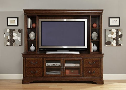 "Liquid Pack Solutions 82"" TV Stand With A Lot of Elegance and Style Made of Cherry Solid Wood & Poplar Wood With 4 Drawers and Closed Cabinet In Autumn Brown Color"