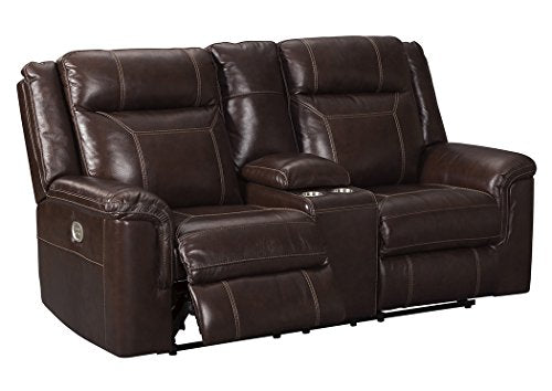 Signature Design by Ashley 7170118 Wyline Power Reclining Loveseat with Console, Coffee