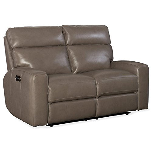 Hooker Furniture Mowry Leather Power Motion Loveseat in Gray