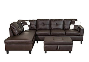 Legend 3 Piece Faux Leather Sectional Sofa Set with Free Storage Ottoman (Left Facing Chaise)