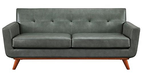 TOV Furniture The Lyon Collection Contemporary Style Eco-Leather Upholstered Living Room Loveseat, Smoke Grey