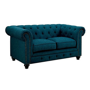 Furniture of America Villa Tufted Fabric Loveseat in Teal