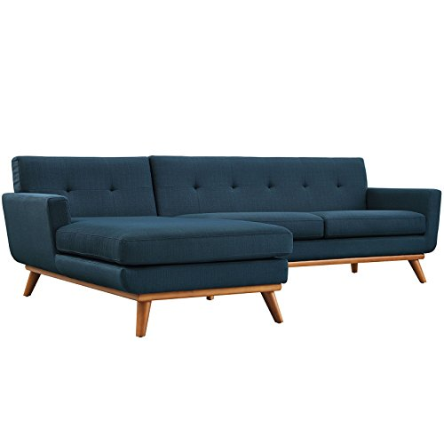 Modway Engage Mid-Century Modern Upholstered Fabric Left-Facing Sectional Sofa In Azure