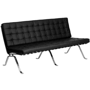 Flash Furniture HERCULES Flash Series Black Leather Sofa with Curved Legs