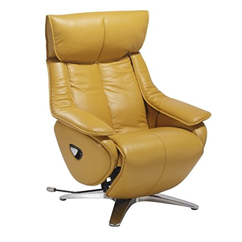 Pemberly Row Leather Swivel Recliner in Yellow