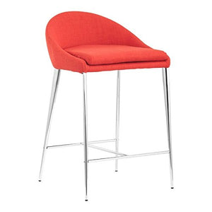 Zuo Counter Height Chair, 2pcs Reykjavik Mad Men-Style High Chair Counter, Tangerine