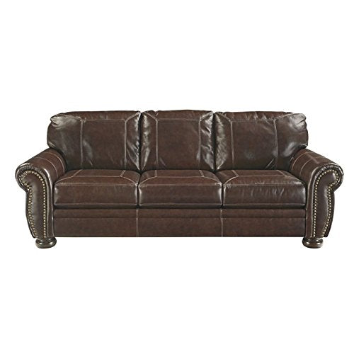 BOWERY HILL Leather Sofa in Coffee