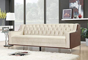 Iconic Home Natasha Club Sofa Button Tufted Velvet Wood Frame with Polished Metal Legs Couch, Modern Contemporary, Cream