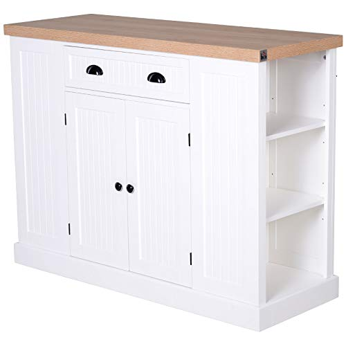HOMCOM Fluted-Style Wooden Kitchen Island Storage Cabinet with Drawer, Open Shelving, and Interior Shelving, White