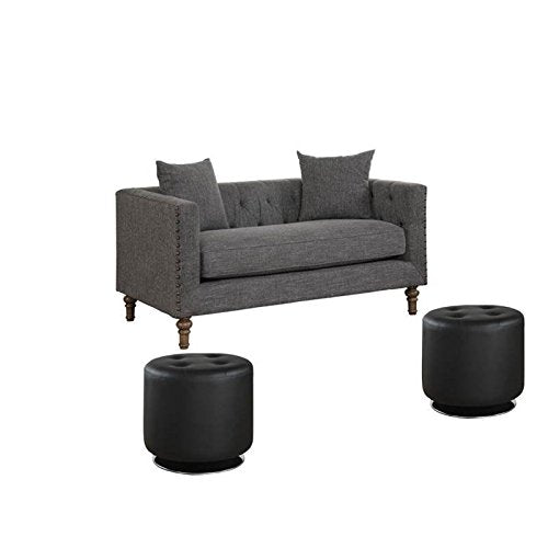 3 Piece Sofa Set with Love Seat and Set of 2 Swivel Black Ottoman