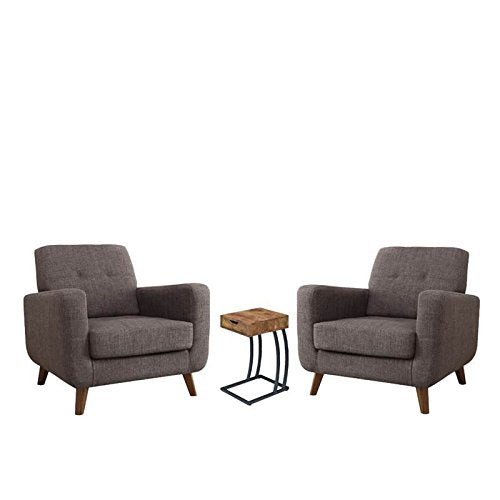 Home Square 3 Piece Living Room Set with End Table and (Set of 2) Mid Century Modern Accent Chair in Gray