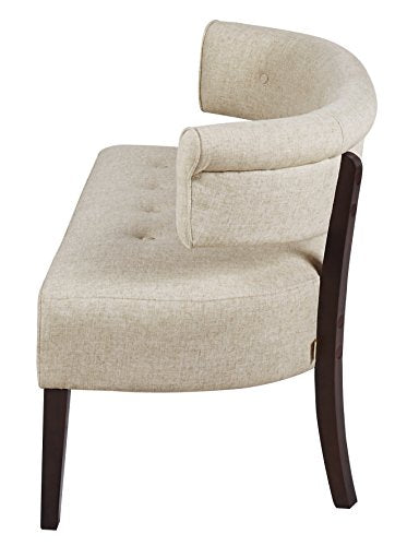 Jennifer Taylor Home Jared Collection Modern Chic Stylish Hand Tufted Armless Settee Bench with Wooden Legs, Beige