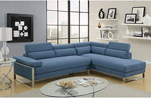 Benzara BM166704 Polyfiber 2 Piece Metal Base, Blue Sectional Sofa
