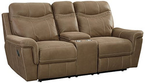 Standard Furniture Boardwalk Manual Motion Reclining Loveseat with Console, Brown
