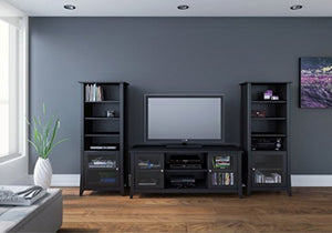 "Liquid Pack Solutions Two-Piece Entertainment Center Includes 1 Tv Stand and Bookcase in Black with Engineered Wood Construction Fits up to 58"" TV"