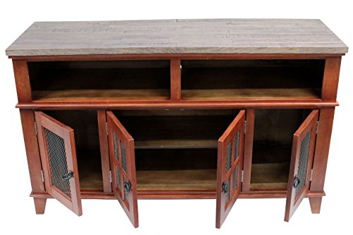 Gaines Rustic Style Solid Wood TV Stand - Distressed Red