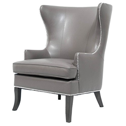 Coja by Sofa4life Rodeo Bonded Leather Wing Chair with Nailhead Trim, Gray