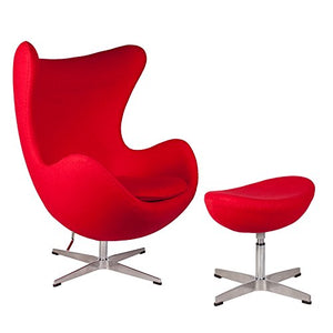 lazyBuddy Mid Century Modern Classic Arne Jacobsen Egg Replica Lounge Chair Premium (Red) Cashmere Wool Fabric with Stainless Steel Frame with Ottoman