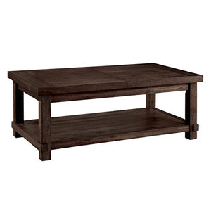 247SHOPATHOME IDF-4410C Hagerman Coffee Table, Dark Walnut