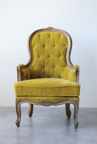 "28-1/2""L x 44""H Mango Wood & Cotton Velvet Chair,Chartreuse"