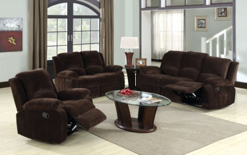 Furniture of America Calmen Champion Leatherette Recliner Loveseat, Dark Brown Finish