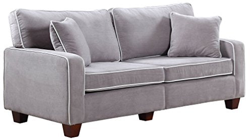 Divano Roma Furniture Collection - Modern Two Tone Velvet Fabric Living Room Love Seat Sofa (Light Grey)