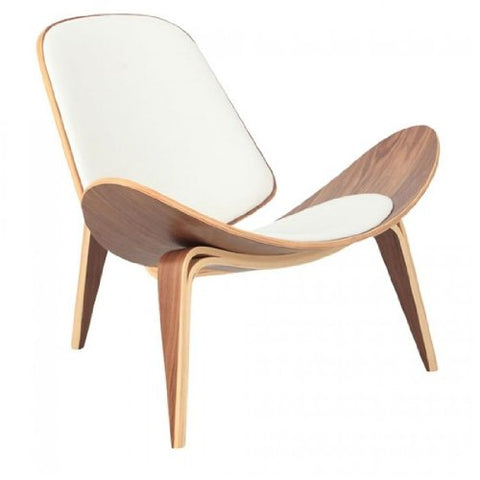 Wegner Leather Shell Chair - White Leather