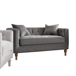 ACME Sidonia Gray Velvet Loveseat with 2 Pillows