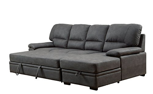 Furniture of America Canby Contemporary Sectional Sleeper & Chaise, Graphite