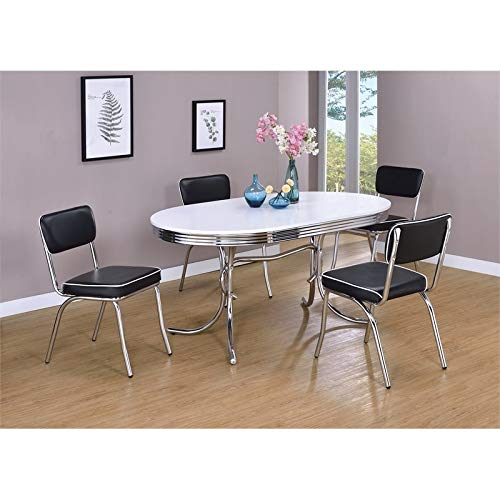 BOWERY HILL Chrome Plated Oval Dining Table with White Top