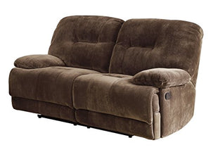 "Homelegance Geoffrey 71"" Microfiber Double Reclining Love Seat, Chocolate"