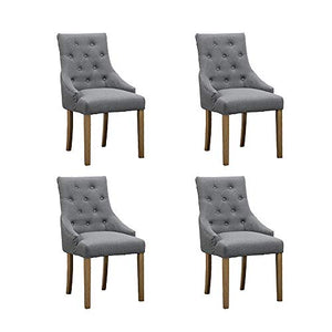 HomeSailing 4 Comfy Armchairs Dining Room Chairs with Arm Only Set of 4 Grey Fabric Upholstered High Back Kitchen Chairs Side Chairs for Bedroom Living Room Padded Chairs Wood Oak Legs Chairs (Gray)