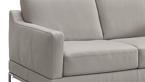 Natuzzi Editions Atrana Grey Leather Stationary Loveseat