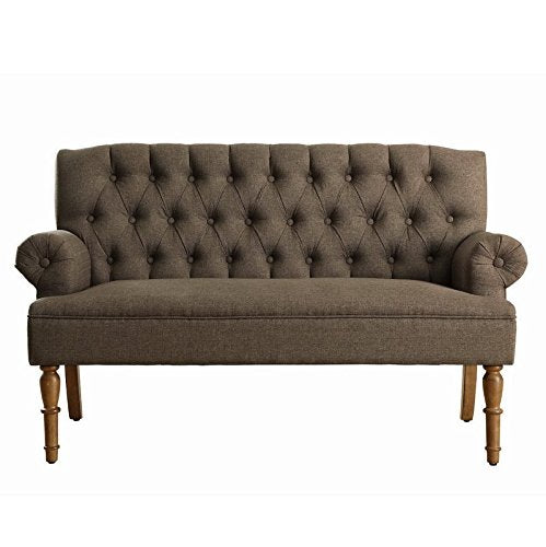 Luxury Vintage Style Tufted Graceful Settee, Inspired by the Traditional English Style Furniture, Featuring Cushion with Hand-Finishing Tufted Buttons, Brown + Expert Guide