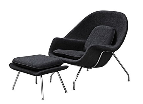 Aron Living WM1056-Black Eero Saarinen Style Lounge Chair and Ottoman, Large, Black