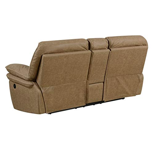 Emerald Home Allyn Desert Sand Power Reclining Loveseat with Dual Recliners, Hidden Storage, and USB Charging Station/Contemporary