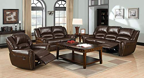 Esofastore Modern Reclining Motion Brown Bonded Leather Match Sofa Loveseat Chair Living Room Furniture Plush Cushion Arms Nailhead Trim 3pc Set