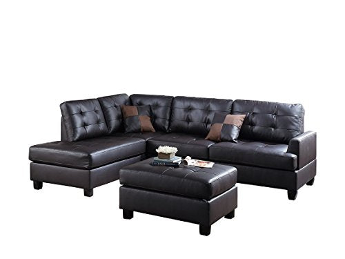 3Pcs Modern Espresso Faux Leather Reversible Sectional Sofa Chaise Ottoman Set with 2 Accent Pillows