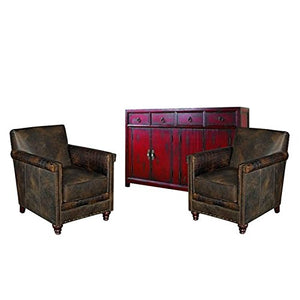 Home Square 3 Piece Vintage Living Room Set with (Set of 2) Accent Chairs and Console Table