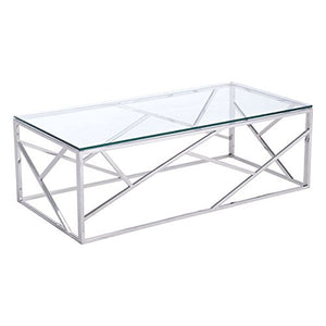 Zuo Cage Coffee Table, Polished Stainless Steel