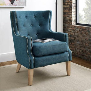 Accent Chair, Multiple Colors, Traditional Accent Chair with a Transitional Twist, Upholstered in an Easy-to-Clean Gray Linen-Look Fabric, Solid Wood Feet Finished in Ash, Chrome Nail Head Trim Detail
