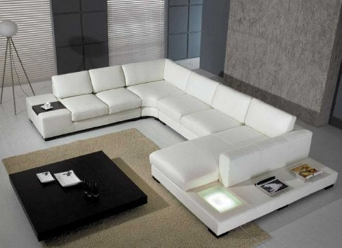 VIG Furniture T35 White Leather Sectional With Light