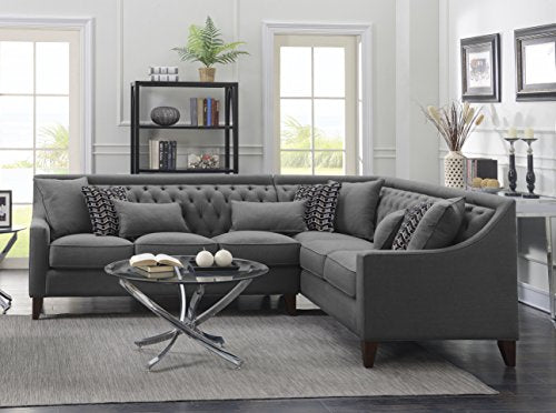 Iconic Home FSA2678-AN Chic Aberdeen Linen Tufted Down Mix Modern Contemporary Right Facing Sectional Sofa, Grey