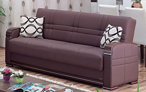 BEYAN Alpine Collection Living Room Convertible Folding Sofa Bed with Storage Space, Includes 2 Pillows, Dark Brown