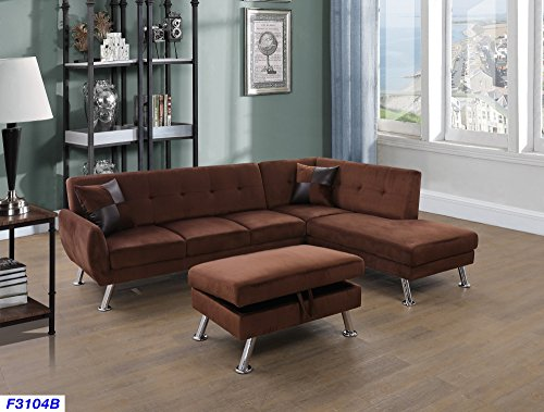 Beverly Fine Funiture CT3104B Sectional Sofa Set, Chocolate Brown