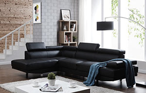 "Container Furniture Direct S0070L-2PC Rangel Elegance Faux Leather Upholstered Contemporary Modern Left-Sided Sectional Sofa, 110.2"", Black"