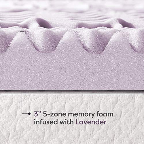 Best Price Mattress King Mattress Topper - 3 Inch 5-Zone Memory Foam Bed Topper with Lavender Infused Cooling Mattress Pad, King Size