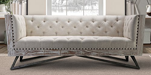 Armen Living LCRE3CR Regis Sofa in Cream and Gunmetal Finish